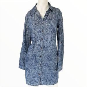 Roots Paisley Button Down Dress Tunic Shirt